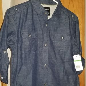 Boy long/quarter sleeve button down shirt
